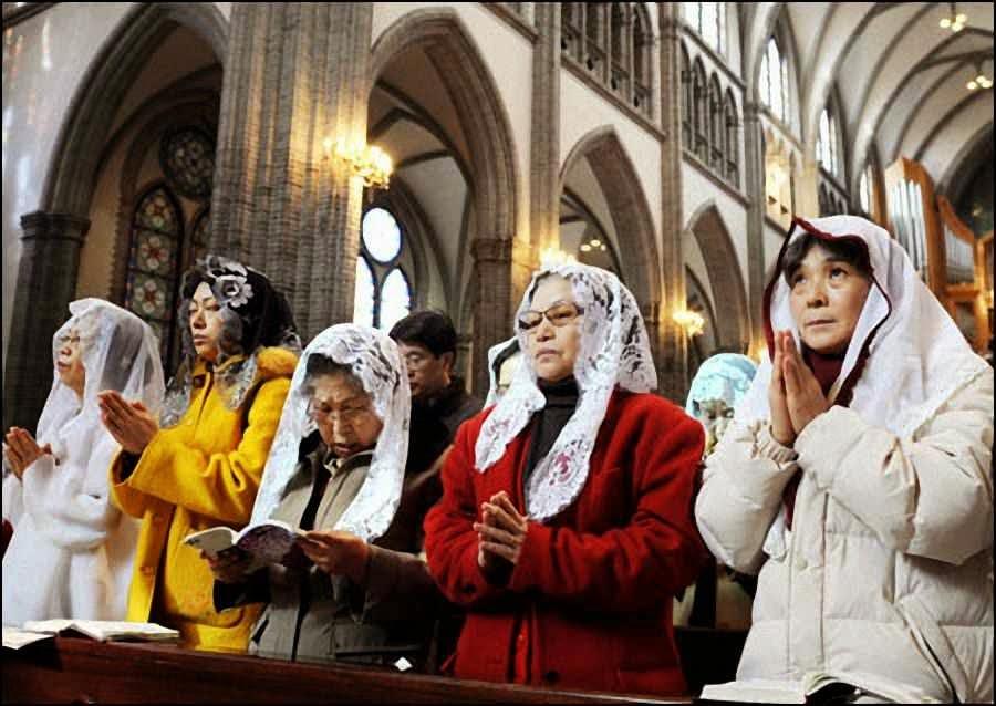 Missa de Natal numa igreja de Seul