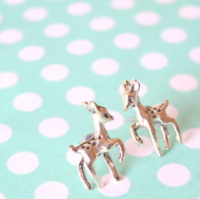 The Polkadotte Deer Earrings Stud Tibetan Silver