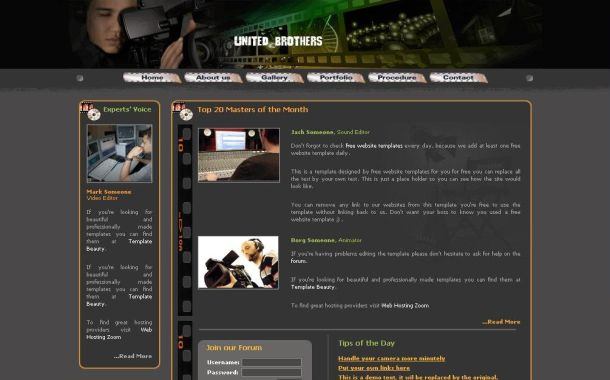 Free Green Grey Movies CSS Website Template