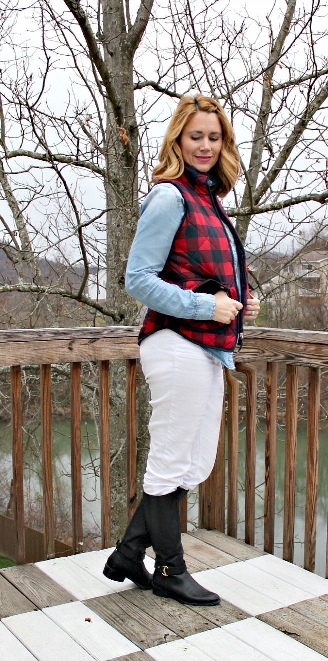 plaid puffer vest, chambray shirt, white jeans, black boots