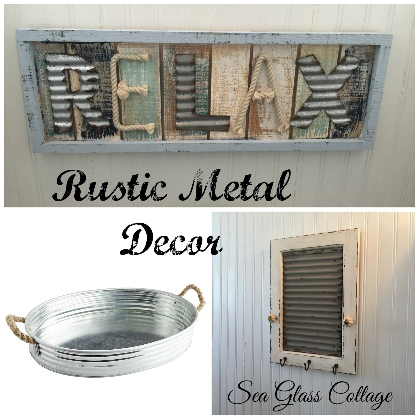 Sea glass cottage decorating with corrugated metal for Aluminum decoration