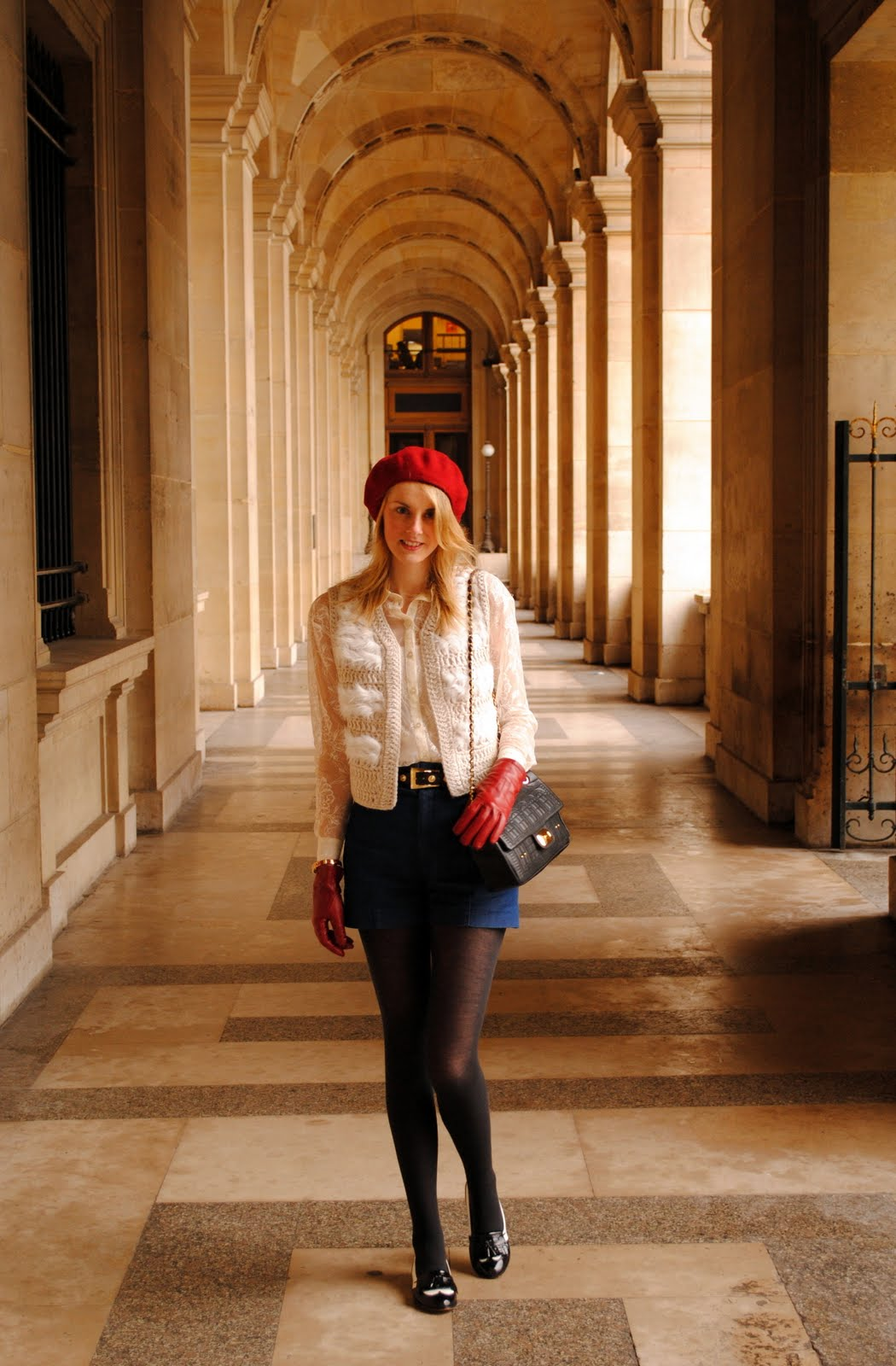 moschino bag and red beret