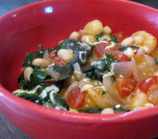 Domesticated: Skillet Gnocchi with Chard and White Beans