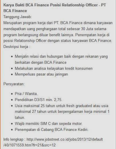 info-lowongan-kerja-bank-bca-finance-terbaru-kediri-februari-maret-2014