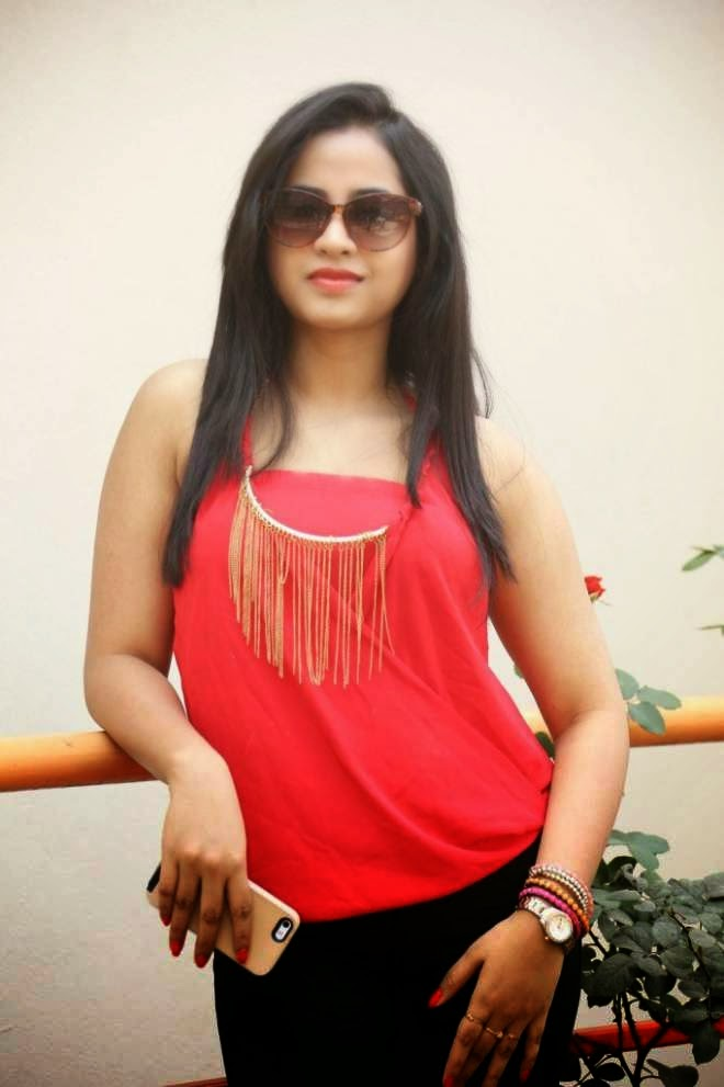 Swathi Deekshith Red Top and Black Denim Jeans Photos