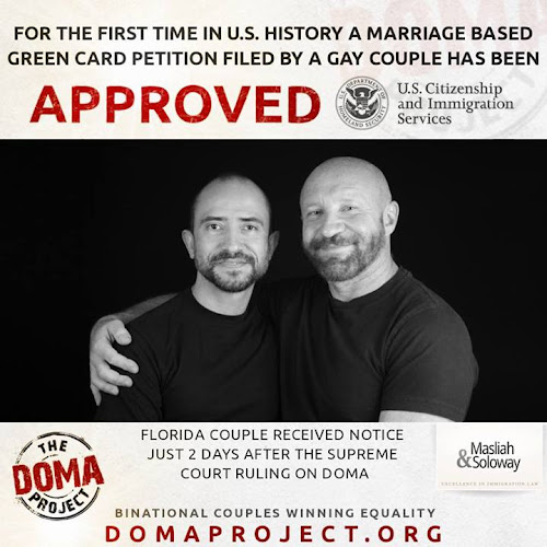 For the first time in U.S. history, a marriage based green card petition filed by a gay couple has been APPROVED.