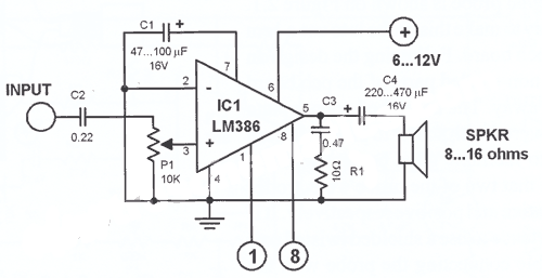lm386n audio amplifier 1x2w