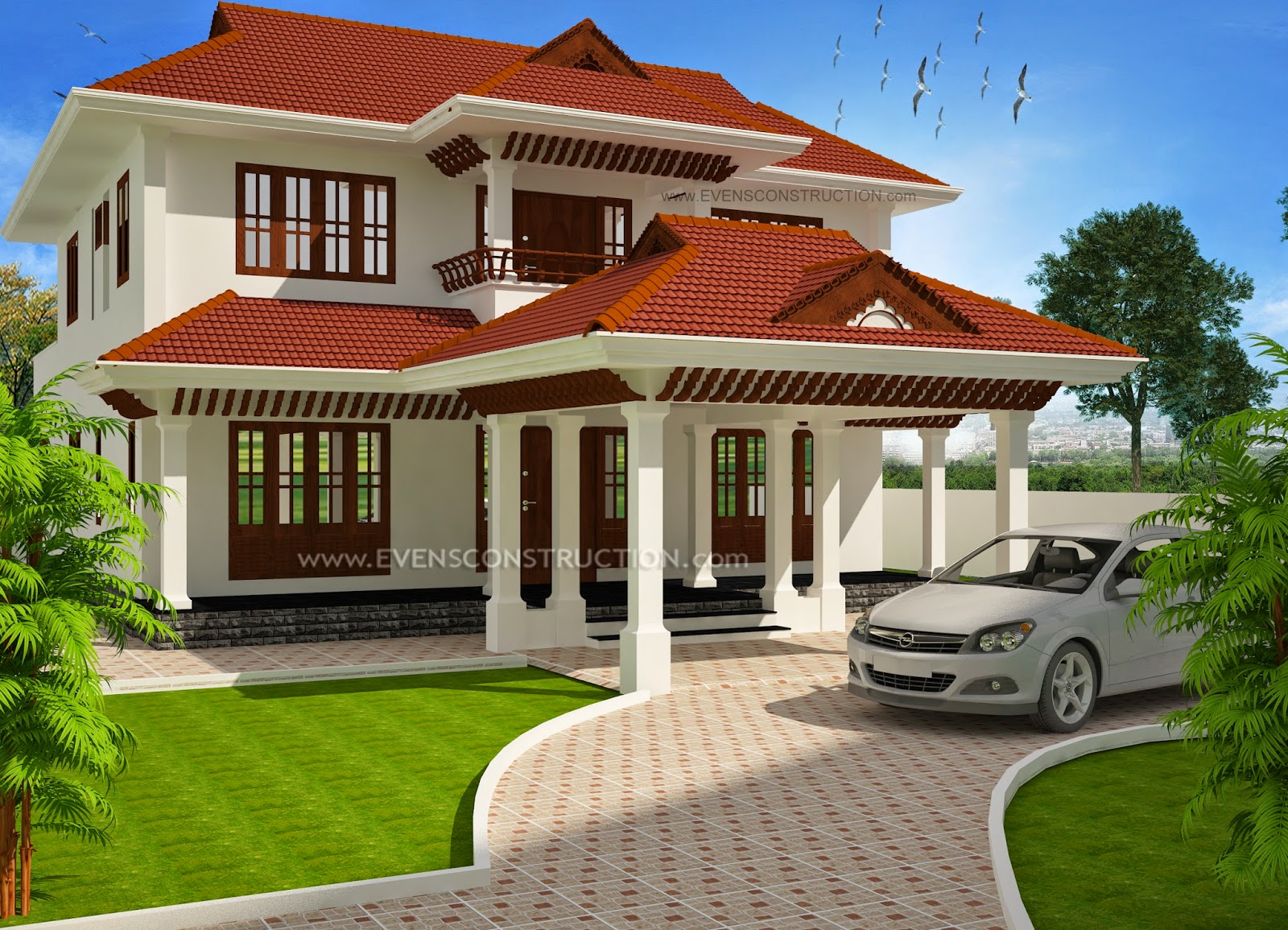 Evens Construction Pvt Ltd Sloped Roof Kerala Style House