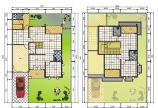 Contoh Denah Rumah Minimalis 2 Lantai Modern