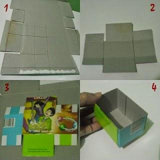Membuat Laci Mini dari sisa Kardus dan Kaleng Susu 4