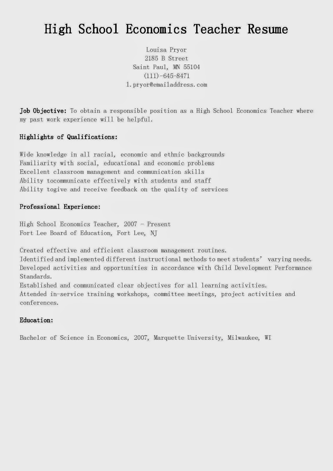 resume samples  high school economics teacher resume sample