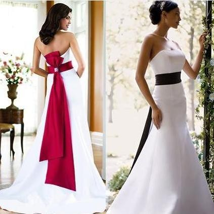 Your Dress Can Be The Traditional White Adding A Beautiful Red Sash Will Compliment Gown And Coordinate With Bridesmaids Dresses