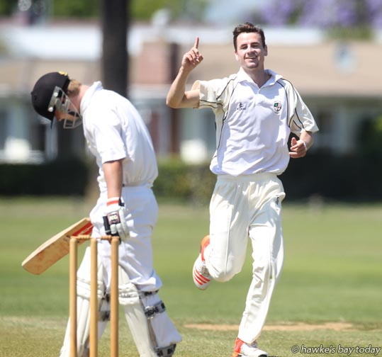 L-R: Liam Muggeridge, Taranaki; Liam Dudding, bowler, Hawke's Bay - Muggeridge was caught by Scott Schaw, wicketkeeper - cricket at Nelson Park, Napier. photograph