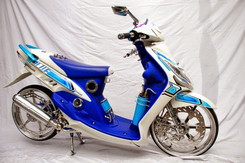 modifikasi motor mio blue-white