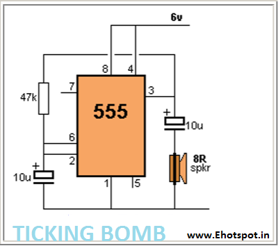 ticking bomb sound circuit using 555 ic electronics hotspot rh myelectronicshub blogspot com Electronic Circuit Animation Electronic Circuit Components