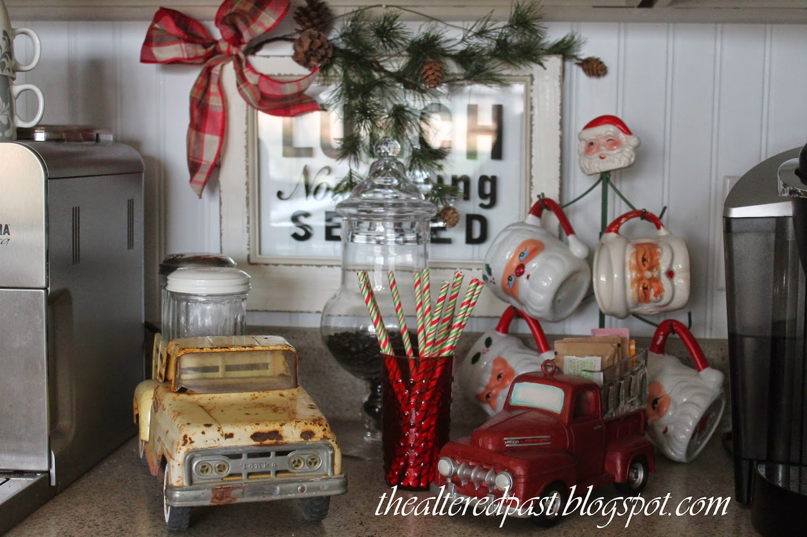 christmas home decor, coffee beverage station, vintage santas, the altered past