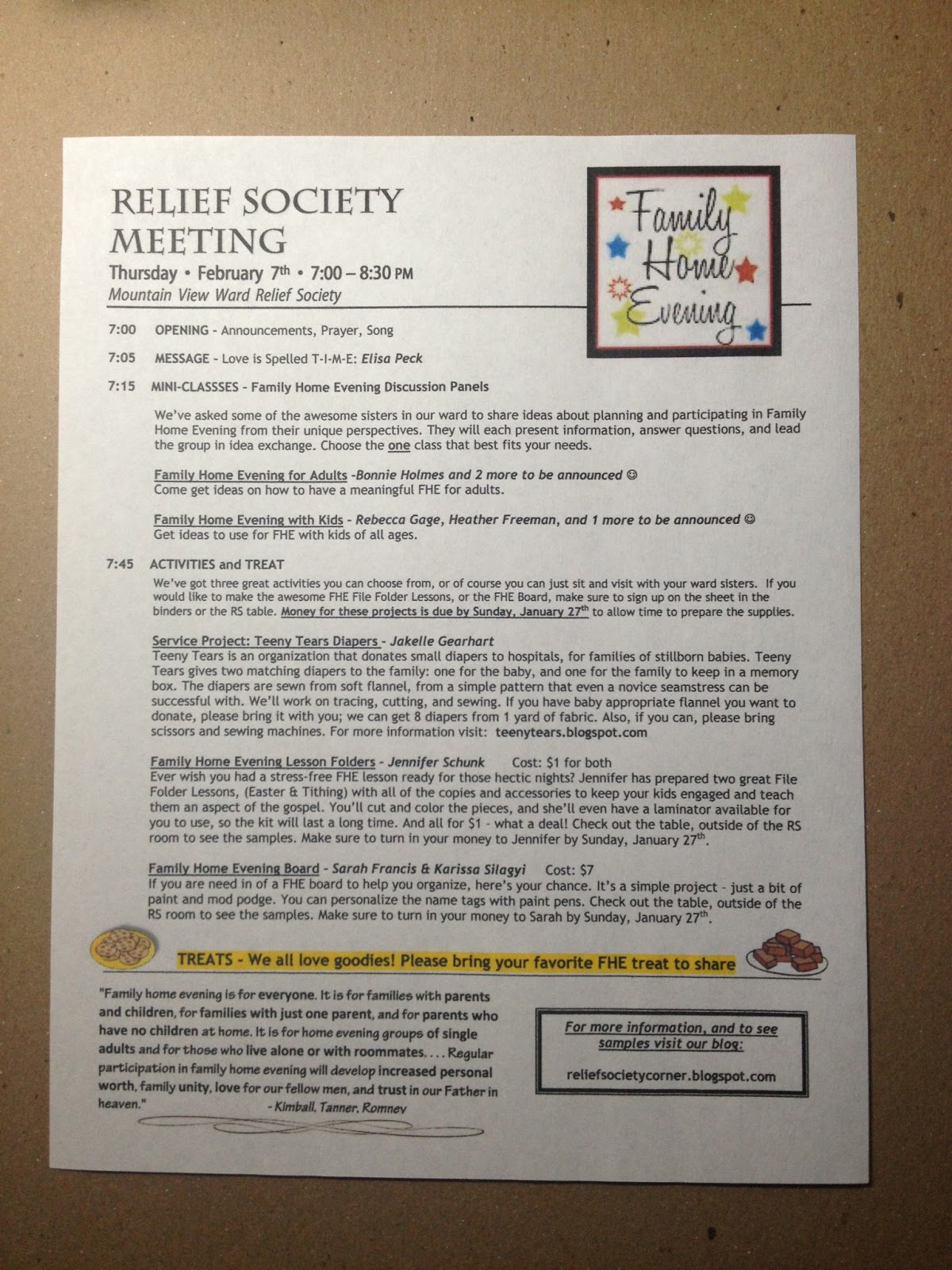 relief society corner relief society meeting for february