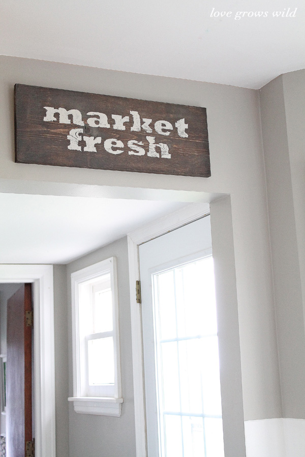 Rustic Wood Kitchen diy market fresh rustic wood kitchen sign - love grows wild