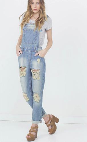 Renner coleção feminina Primavera Verão 2016 jardineira jeans com rasgos