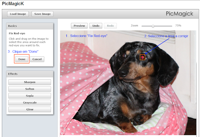 Fix red eye with Pickmagik