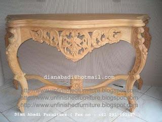 Klasik Furniture meja ukir konsole klasik mahoni ukir jepara supplier jepara meja konsole klasik mentah unfinished