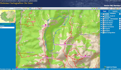 Hike route (in blue) shown on a map generated from the Provincia di Cuneo Sentieri Alpini mapping application.