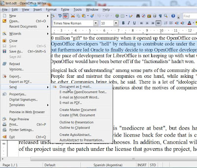 how to send a document from open office to messenger