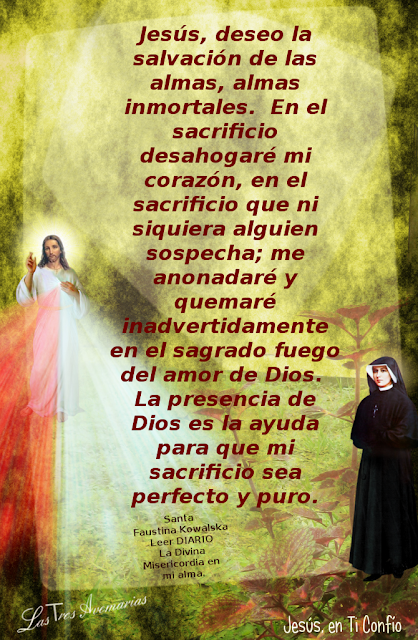 oracion hecha por santa faustina anotada en el diario la divina misericordia