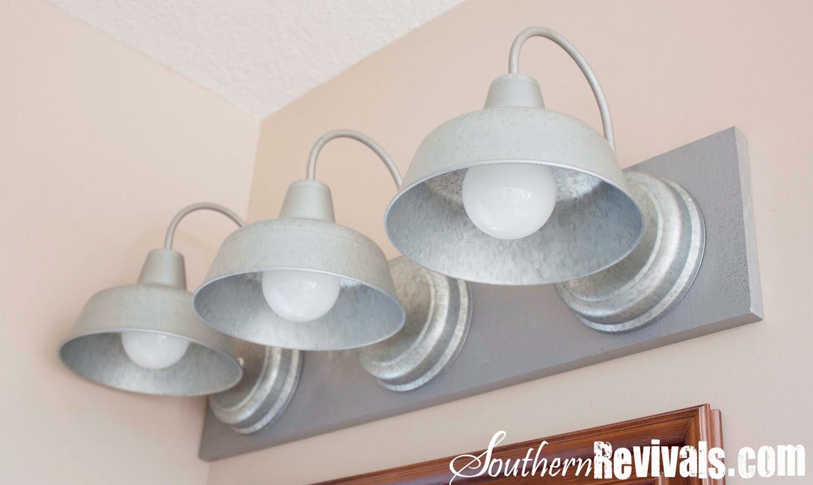 DIY Triple Galvanized Gooseneck Vanity Light Fixture for under