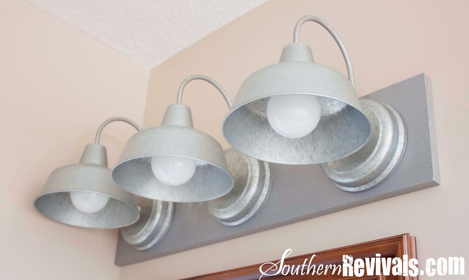 Nautical Bathroom Light Fixture: DIY Triple Galvanized Gooseneck Vanity Light Fixture For