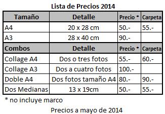 Fotos: Lista de precios