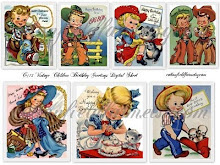 Vintage Children Birthday Greeting Cards/Tags