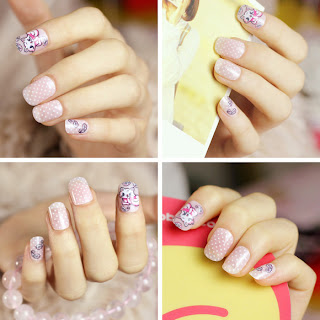 Pretty and Cute Cartoon Nail Design for Teen