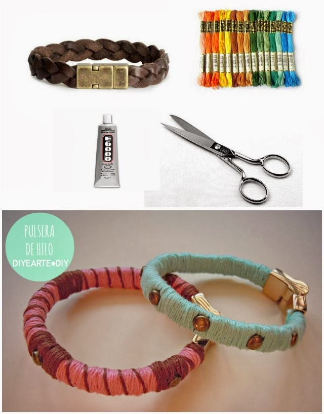 thread-bracelet-diy-spikes-leather-diyearte-pulsera-cuero-hilo-colores-tachuelas-handmade-jewelry
