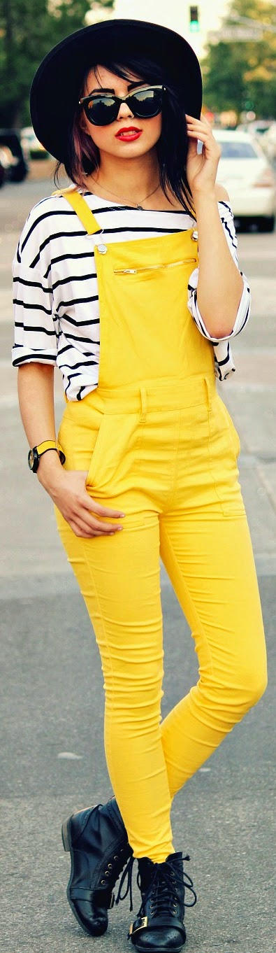 Bright Yellow Overalled with Stripes | Chic Spring Outfits
