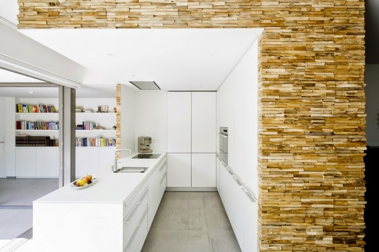 Wooden Wall Panels For Kitchen Wall And With White Fronts