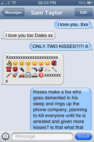 interpreting kisses in text messages