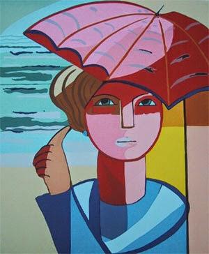 pintura de homem na chuva