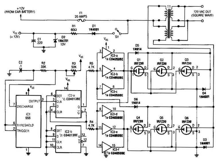 electronic circuits projects and circuit diagrams inverters 250w inverter