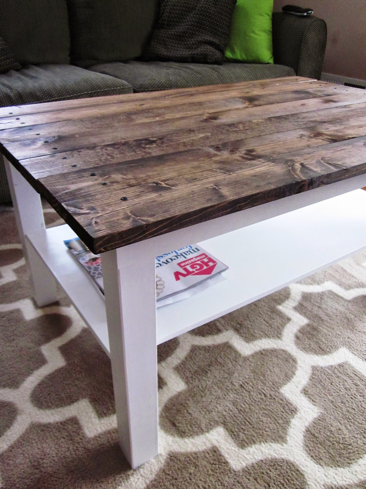 Plank Coffee Table ~ It s a long story coffee table makeover wood plank