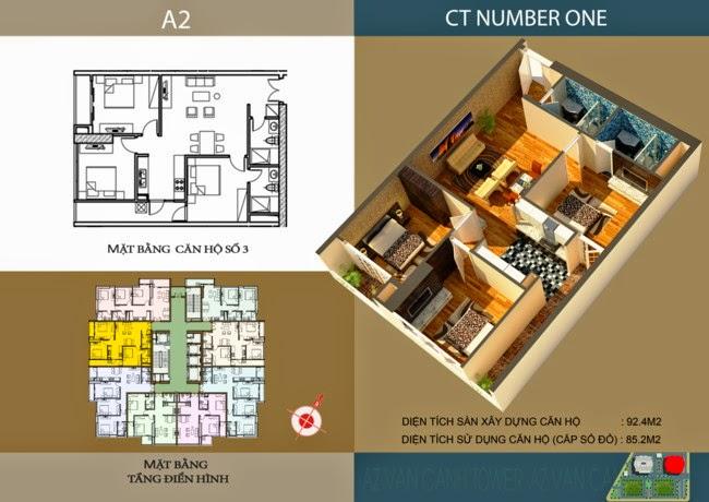 thiết kế chi tiết căn hộ số 3 - 85,2 m2 dự án ct number one