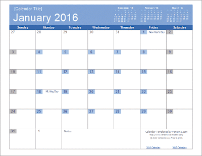 Download Kalender 2016 format Word dan Excel