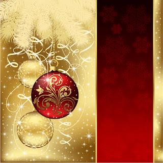 真紅のクリスマス ツリーとハンギング ボール beautiful christmas ball background vector イラスト素材2