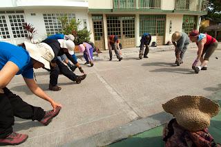 Ejercicios de Calentamiento en La Vega. Foto: Jorge Bela