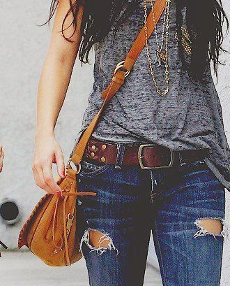 jeans blouse with hand bag