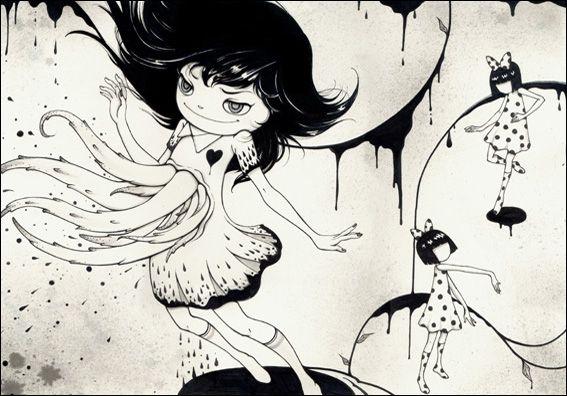 yan wei ilustrações bizarras creepy