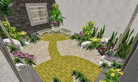 jardin playa del carmen diseño pasillo sendero adoquin amarillo