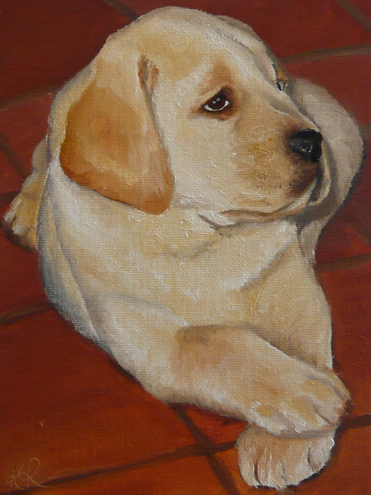 labrador in oil paint
