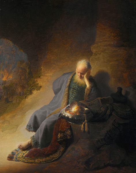"""Picture of """"Jeremiah Lamenting the Destruction of Jerusalem"""" by Rembrandt, 1630"""
