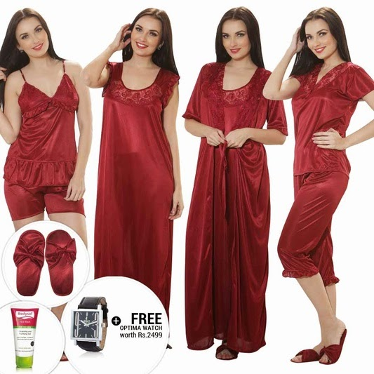 Buy 9 Pcs Set of Nightwear (Nighty) at Rs. 1299 only – BuyToEarn
